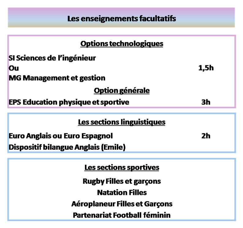 Enseignements optionnels de 2GT